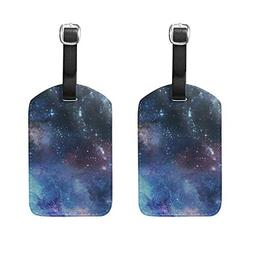 Set of 2 Luggage Tags Galaxy Stars Night Sky Suitcase Labels
