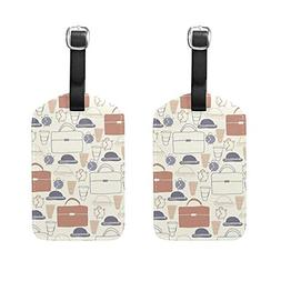 Set of 2 Luggage Tags Hat Package Alarm Clock Suitcase Label