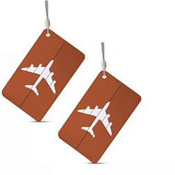 Set of 2 Luggage Tags Labels, Aluminum Metal Airplane Travel