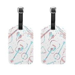 Set of 2 Luggage Tags Music Instruments Suitcase Labels Trav