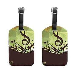 Set of 2 Luggage Tags Music Note Triangle Suitcase Labels Tr