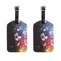 Set of 2 Luggage Tags Music Note Wave Suitcase Labels Travel