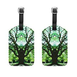 Set of 2 Luggage Tags Nature Forest Tree Suitcase Labels Tra