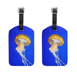 Set of 2 Luggage Tags Ocean Seawater Jellyfish Suitcase Labe