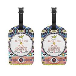 Set of 2 Luggage Tags Paisley Africa Culture Suitcase Labels