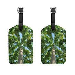 Set of 2 Luggage Tags Palm Tree Suitcase Labels Travel Acces
