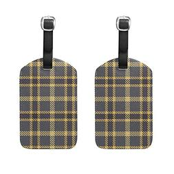 Set of 2 Luggage Tags Striped Warm Plaid Suitcase Labels Tra