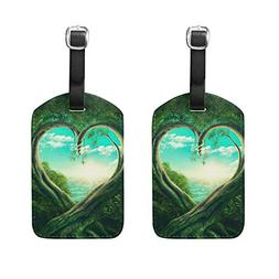 Set of 2 Luggage Tags Two Trees Forming A Heart Suitcase Lab