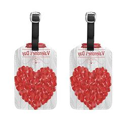 Set of 2 Luggage Tags Valentine's Day Heart Rose Suitcase La