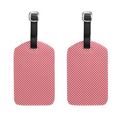 Set of 2 Luggage Tags Valentine's Dots Suitcase Labels Trave