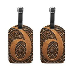 Set of 2 Luggage Tags Vintage 3D Digital 6 Suitcase Labels T