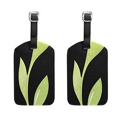 Set of 2 Luggage Tags Watercolor Leaf Suitcase Labels Travel