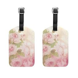 Set of 2 Luggage Tags Watercolor Roses Suitcase Labels Trave