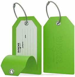 Shacke Luggage Tags with Full Back Privacy Cover w/Steel Loo
