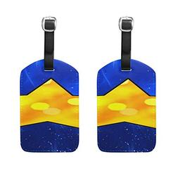 Star Space Bright Pattern Pu Leather Id Tags Business Card H