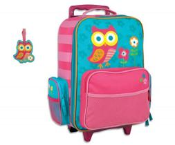 Stephen Joseph Rolling Luggage and Name Tag Set, Teal Owl
