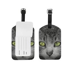 Unisex Black And White Kitten Luggage Tags Travel ID Bag Tag