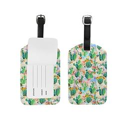 Unisex Cactus Pattern Luggage Tags Travel ID Bag Tag for Sui