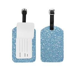 Unisex Glittering Blue Luggage Tags Travel ID Bag Tag for Su