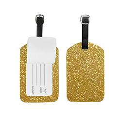 Unisex Sparkle Gold Luggage Tags Travel ID Bag Tag for Suitc