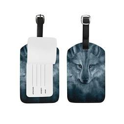 Unisex Wolf Spirit Luggage Tags Travel ID Bag Tag for Suitca