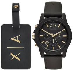 Armani Exchange Men's  Black Silicone Watch and Luggage Tag