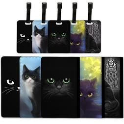 Black Cats - Passport Cover & Luggage Tag Travel Set