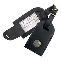 Black Leather Luggage Tag with Bass Nickel Silver Emblem