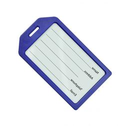 Blue Rigid Luggage Tag Holder - Clear insert cover  - Free S