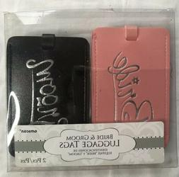 Bride and Groom Luggage Tags NEW Pink Black