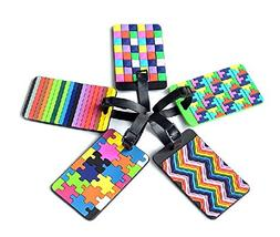 Adecco LLC 5pcs Colorful Tetris Pattern Rubber ID Tags Busin