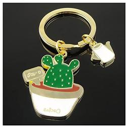 SODIAL New Cute Potted Plant Cactus Shape Key Ring Keychains