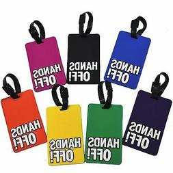 """Eye-Catching """"HANDS OFF"""" Rubber Luggage Tag in 7 Colors"""