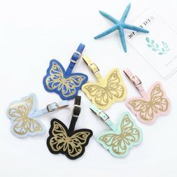 Fashion beautiful bronzing butterfly Luggage Tag Leather Tra