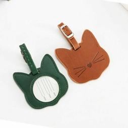 Fashion Cat Pattern Luggage Tag Leather Travel Accessories
