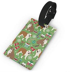 Dicobrune Fashion Luggage Tags,English Bulldog Christmas Gif