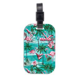 Flamingo Flower Wood Travel Luggage Tag Bag Tags Accessories
