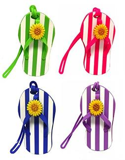 Set Of 4 Flip Flop Luggage Tags W/ Stripes & Sunflower Accen