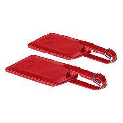 SwissElite Genuine Leather Luggage Tags & Bag Tags 2 pieces