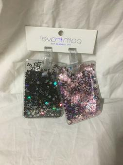 Glitter Travel Luggage ID Tag Sparkling Colors Pink Black Si