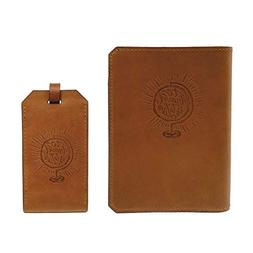 Handmade Wax Leather Embossed Travel Set – Passport Holder