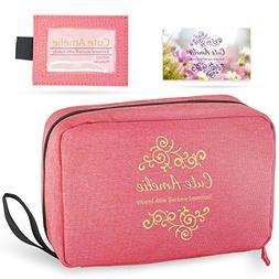 Women's Hanging Cosmetic Bag and Name Tag Set. Toiletry Trav