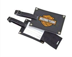 Harley-Davidson Black Leather Luggage Tags | Privacy Flap |