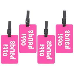 "Hot Pink Luggage Tag Silicone ""hands off!"" Duffel Suitcase 4"