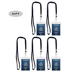 Cypes 5Pack Extra Large ID Badge Holder for Passport with La