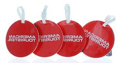 American Tourister Jumbo Luggage Tag Set of 4 Round Red ID S