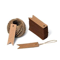 G2PLUS 100 PCS Kraft Paper Tags with String Craft Gift Tags
