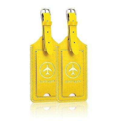 2 pack luggage tags leather case luggage