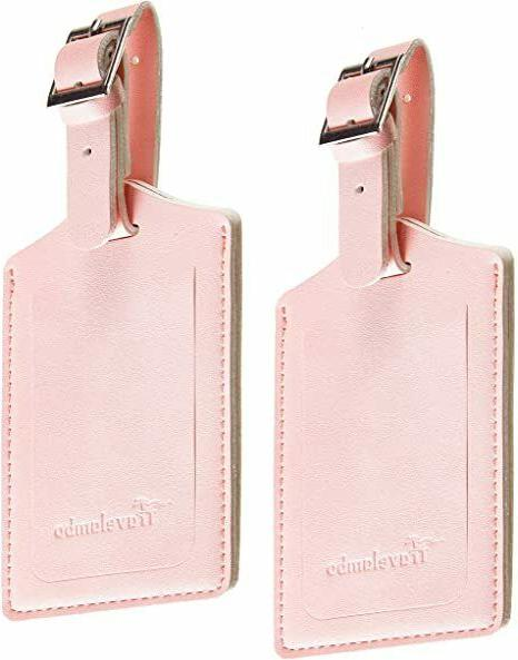 4 Leather Tags w/ Privacy Flap for Pink Free
