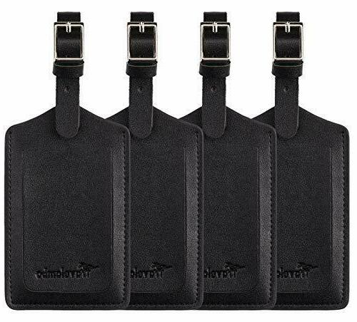 4 pack leather luggage travel bag tags